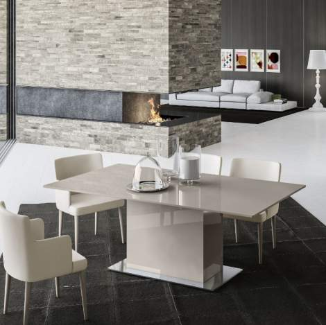 Mediale Rectangular Fixed Top Dining Table w/ Valentino Base, Planum Furniture Italy