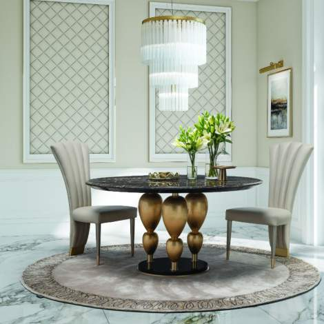 Imperador Small Round Marble Top Dining Table, Planum Furniture Italy