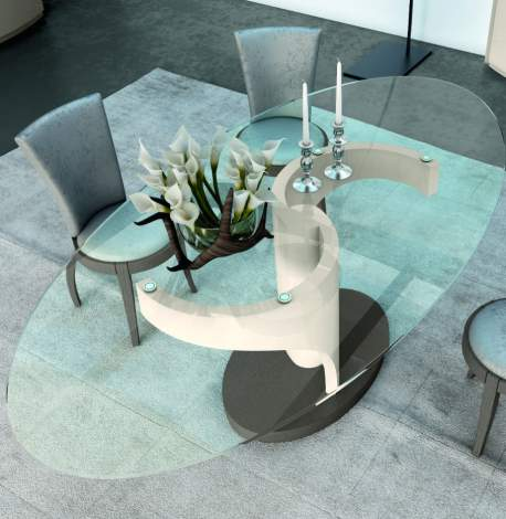 Avantgarde Candy Oval Glass Top Dining Table, Planum Furniture Italy