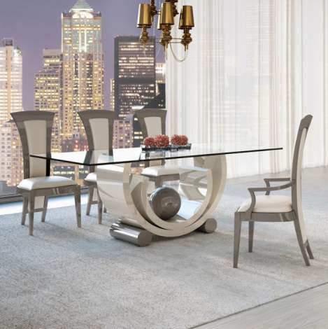 Avantgarde Glamour Glass Top Dining Table, Planum Furniture Italy