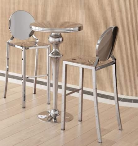 Molokai Bar Table Stainless Steel, Zuo Modern