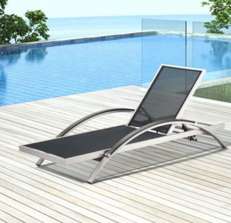Metropolitan Chaise Lounge Brushed Aluminum, Zuo Modern