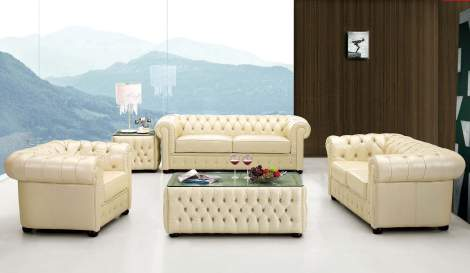 258 Leather Living Room Furniture Sofa Set, ESF