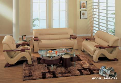 2033 Leather Living Room Furniture Sofa Set