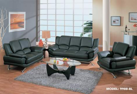9908 Black Living Room Furniture Sofa Set