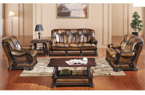 Oakman Leather Living Room Furniture Sofa Set, ESF
